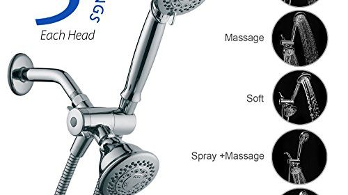 Shower Head Aoleca Handheld and Fixed Shower Combo 5 Settings ABS ...